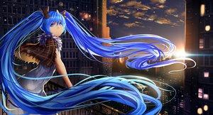 Rating: Safe Score: 63 Tags: blue_eyes blue_hair building city clouds dress hatsune_miku kote-sensei long_hair twintails vocaloid User: Flandre93