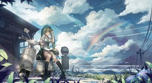 Rating: Safe Score: 162 Tags: clouds green_eyes green_hair hatsune_miku monono rainbow seifuku skirt sky tie twintails vocaloid wet User: HawthorneKitty