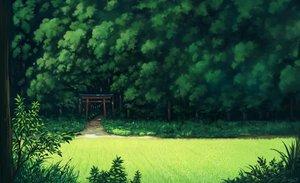 Rating: Safe Score: 111 Tags: forest grass green landscape nobody original sasajqazwsx scenic torii tree User: otaku_emmy