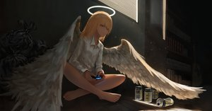 Rating: Safe Score: 63 Tags: angel barefoot blonde_hair blue_eyes book dark drink feathers game_console guitar halo instrument kagumanikusu long_hair original shirt waifu2x wings User: BattlequeenYume