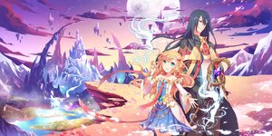 Rating: Safe Score: 24 Tags: black_hair blonde_hair blue_eyes dark.h dress green_eyes landscape loli long_hair magic male planet scenic sky User: BattlequeenYume