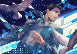 Rating: Safe Score: 19 Tags: all_male animal bird brown_eyes brown_hair connor_(detroit:_become_human) detroit:_become_human h@ge male robot short_hair signed suit tie User: otaku_emmy