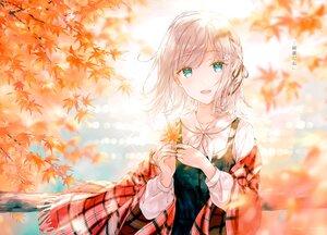 Rating: Safe Score: 46 Tags: autumn blonde_hair blush braids dress green_eyes hiten_goane_ryu leaves original scan shirt short_hair translation_request tree water User: BattlequeenYume