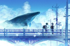 Rating: Safe Score: 105 Tags: clouds hekoheko original scenic seifuku sky summer User: FormX
