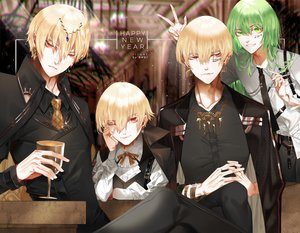 Rating: Safe Score: 13 Tags: all_male blonde_hair drink enkidu fate/grand_order fate_(series) gilgamesh green_eyes green_hair group long_hair male red_eyes ribbons shei99 short_hair suit tie wink wristwear User: RyuZU