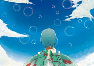 Rating: Safe Score: 17 Tags: aqua_hair bubbles clouds eureka eureka_seven hrd sky wings User: SonicBlue