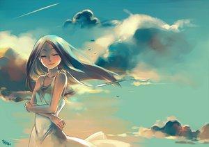 Rating: Safe Score: 127 Tags: clouds dress ju_rei long_hair original signed sky summer_dress User: Wiresetc