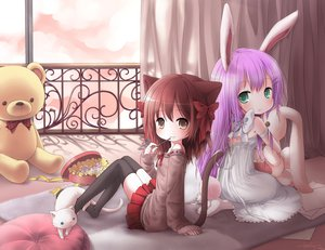 Rating: Safe Score: 173 Tags: animal bow brown_eyes bunnygirl cat catgirl green_eyes keluy loli original purple_hair teddy_bear User: Zolxys