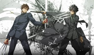 Rating: Safe Score: 245 Tags: all_male black_eyes black_hair brown_hair cross emiya_kiritsugu fate_(series) fate/stay_night fate/zero gun komecchi kotomine_kirei male necklace short_hair sword tie weapon User: opai
