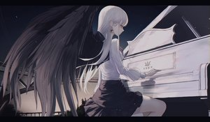 Rating: Safe Score: 51 Tags: gothic instrument long_hair neon_(pixiv_31150749) original piano shirt skirt white_hair wings User: Dreista
