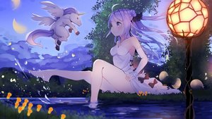 Rating: Safe Score: 63 Tags: animal anthropomorphism azur_lane barefoot blush bow dress flowers hms_unicorn_(azur_lane) horse long_hair night petals purple_eyes purple_hair sky summer_dress unicorn wankoo-mikami water User: BattlequeenYume