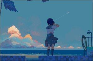 Rating: Safe Score: 28 Tags: bangqiao_yan blue_hair clouds kneehighs original seifuku short_hair sky water User: RyuZU