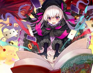 Rating: Safe Score: 61 Tags: alice_in_wonderland blush book bow cape cherry elbow_gloves fate/grand_order fate_(series) food fruit gloves goth-loli hat lolita_fashion long_hair magic nursery_rhyme_(fate/extra) purple_eyes ribbons white_hair yuu_(higashi_no_penguin) User: otaku_emmy