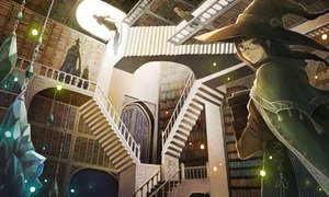 Rating: Safe Score: 23 Tags: book brown_hair cape chain glasses hat long_hair male original sachi_(yumemayoi) scenic stairs witch witch_hat User: RyuZU