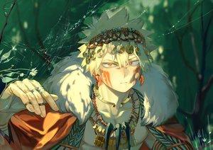 Rating: Safe Score: 32 Tags: all_male bakugou_katsuki blonde_hair boku_no_hero_academia close forest headdress male necklace red_eyes short_hair taro-k tree User: mattiasc02