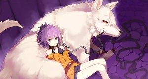 Rating: Safe Score: 47 Tags: animal bondage chain collar mazonano original purple_eyes purple_hair short_hair shorts wolf User: BattlequeenYume