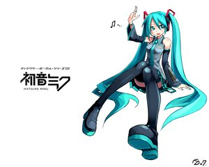 Rating: Safe Score: 39 Tags: aqua_eyes aqua_hair boots hatsune_miku skirt thighhighs tie twintails vocaloid User: Oyashiro-sama