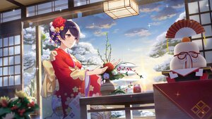 Rating: Safe Score: 50 Tags: blush brown_eyes clouds flowers girl_cafe_gun_(game) japanese_clothes kimono purple_hair shi_wuxia short_hair sky tagme_(artist) User: BattlequeenYume