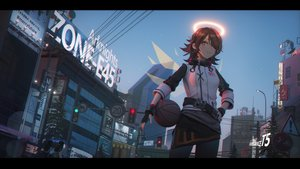 Rating: Safe Score: 134 Tags: arknights basketball brown_eyes brown_hair building exusiai_(arknights) gloves halo ibara_dance pantyhose short_hair skirt sky sport sunset tree watermark wings User: SciFi