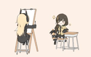 Rating: Safe Score: 33 Tags: 2girls anthropomorphism blonde_hair braids brown_eyes chibi drink eyepatch ganesagi girls_frontline gloves headphones long_hair m16a1_(girls_frontline) m4_sopmod_ii_(girls_frontline) ponytail sketch skirt thighhighs tie uniform User: otaku_emmy