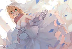 Rating: Questionable Score: 57 Tags: aqua_eyes artoria_pendragon_(all) bianyuanqishi blonde_hair breasts choker cleavage dress elbow_gloves erect_nipples fate/grand_order fate_(series) fate/stay_night gloves headdress jpeg_artifacts no_bra petals saber signed wedding_attire User: Flandre93