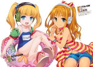 Rating: Safe Score: 113 Tags: 2girls blonde_hair blue_eyes breasts cleavage green_eyes headphones hiiro_yuki hino_akane_(idolmaster) idolmaster idolmaster_cinderella_girls loli mary_cochran school_swimsuit shorts swimsuit twintails User: Wiresetc