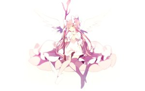 Rating: Safe Score: 119 Tags: boots dress kaname_madoka long_hair lp_(hamasa00) mahou_shoujo_madoka_magica pink_hair staff thighhighs twintails ultimate_madoka white wings yellow_eyes User: luckyluna
