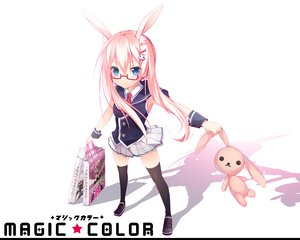 Rating: Safe Score: 110 Tags: animal_ears blue_eyes bunnygirl duji_amo glasses pink_hair seifuku thighhighs User: Wiresetc