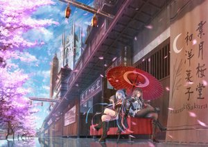 Rating: Safe Score: 66 Tags: 2girls blue_eyes boots brown_hair building cherry_blossoms clouds katana long_hair original pantyhose pink_eyes reflection ribbons scenic short_hair sky sword tagme_(artist) tree umbrella uniform weapon white_hair wink User: BattlequeenYume