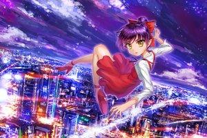 Rating: Safe Score: 6 Tags: bow building city clouds crazypen dress gegege_no_kitaro neko_musume pointed_ears ponytail purple_hair sky yellow_eyes User: RyuZU