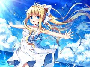 Rating: Safe Score: 65 Tags: air aqua_eyes blonde_hair blush clouds dress kamio_misuzu long_hair mauve ponytail ribbons sky summer_dress water User: RyuZU