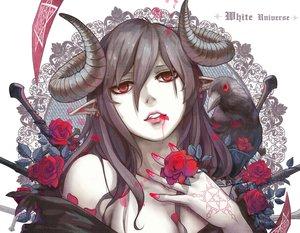 Rating: Safe Score: 207 Tags: animal aoiakamaou bird black_hair blood flowers horns long_hair original petals red_eyes rose tattoo User: Flandre93