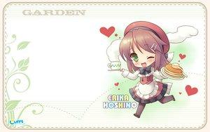 Rating: Safe Score: 9 Tags: brown_hair cake chibi cuffs_(studio) food garden_(galge) green_eyes hoshino_erika User: 秀悟
