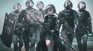 Rating: Safe Score: 59 Tags: armor black_hair choker dress gloves group gun military original police polychromatic red_eyes staff swav weapon User: boomshadow