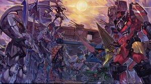 Rating: Safe Score: 29 Tags: armor group mecha robot scan sky spear tengen_toppa_gurren_lagann weapon wings yoshinari_you User: Oyashiro-sama