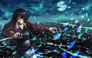 Rating: Safe Score: 67 Tags: black_hair city japanese_clothes kara_no_kyoukai moon night purple_eyes ryougi_shiki seafh weapon User: opai