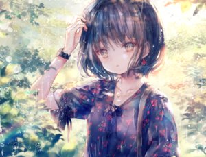Rating: Safe Score: 63 Tags: black_hair brown_eyes close leaves onineko original rain short_hair water wristwear User: otaku_emmy