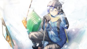 Rating: Safe Score: 33 Tags: all_male daidou_(demitasse) gloves hat kaito male scarf snow vocaloid User: FormX