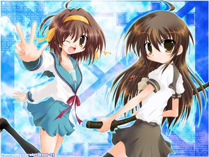 Rating: Safe Score: 12 Tags: brown_eyes brown_hair crossover headband school_uniform shakugan_no_shana shana suzumiya_haruhi suzumiya_haruhi_no_yuutsu sword weapon User: Oyashiro-sama