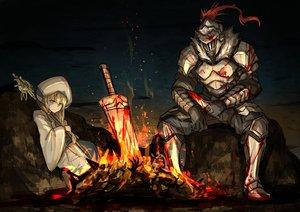 Rating: Safe Score: 119 Tags: aliasing armor blonde_hair blood blue_eyes dark dark_souls fire goblin_slayer! goblin_slayer_(character) kan_(aaaaari35) long_hair male parody priestess_(goblin_slayer!) staff sword weapon User: Tensa