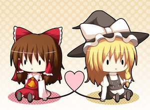 Rating: Safe Score: 13 Tags: blonde_hair brown_hair chibi dress hakurei_reimu hat japanese_clothes kirisame_marisa kurenai_shake miko short_hair touhou vector witch User: HawthorneKitty