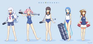 Rating: Safe Score: 77 Tags: animal anthropomorphism black_hair blue blue_eyes blue_hair brown_eyes brown_hair fubuki_(kancolle) goggles green_eyes group inazuma_(kancolle) kantai_collection long_hair mumyoudou murakumo_(kancolle) pink_eyes pink_hair rabbit samidare_(kancolle) sazanami_(kancolle) school_swimsuit short_hair swim_ring swimsuit twintails weapon white_hair User: ArthurS91