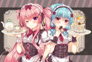 Rating: Safe Score: 46 Tags: 2girls apron aqua_hair blush bow braids cake drink food headdress lilia_chocolanne long_hair meru_clair original pink_hair purple_eyes red_eyes suzune_rena tie twintails waitress wink wristwear User: RyuZU