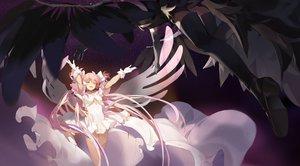Rating: Safe Score: 42 Tags: 2girls akemi_homura akuma_homura bow dress gloves kaname_madoka long_hair mahou_shoujo_madoka_magica pink_hair shuang_ye thighhighs twintails ultimate_madoka wings User: BattlequeenYume