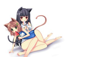 Rating: Safe Score: 76 Tags: 2girls animal_ears blush food school_swimsuit swimsuit tail usagihime white User: SciFi