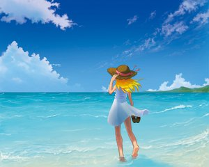 Rating: Safe Score: 10 Tags: barefoot beach blonde_hair clouds hat sky summer_dress User: Maboroshi