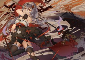 Rating: Safe Score: 29 Tags: aliasing bodysuit garter_belt gloves gray_hair honkai_impact kray._(k-ray) long_hair red_eyes stockings sword theresa_apocalypse thighhighs torn_clothes twintails weapon User: otaku_emmy