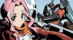 Rating: Safe Score: 15 Tags: darry gainax mecha pink_hair robot tagme tengen_toppa_gurren_lagann vector weapon User: Oyashiro-sama