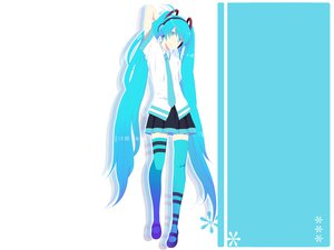 Rating: Safe Score: 80 Tags: harano hatsune_miku headphones thighhighs twintails vocaloid white zettai_ryouiki User: anaraquelk2