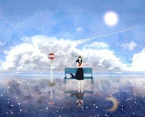 Rating: Safe Score: 97 Tags: animal cat clouds hat kurohal moon original school_uniform sky stars User: FormX